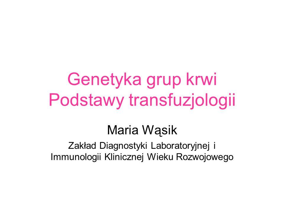 Genetyka grup krwi Podstawy transfuzjologii