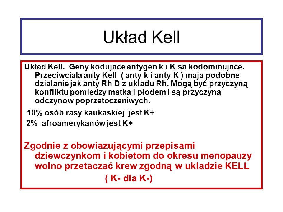 Układ Kell 10% osób rasy kaukaskiej jest K+