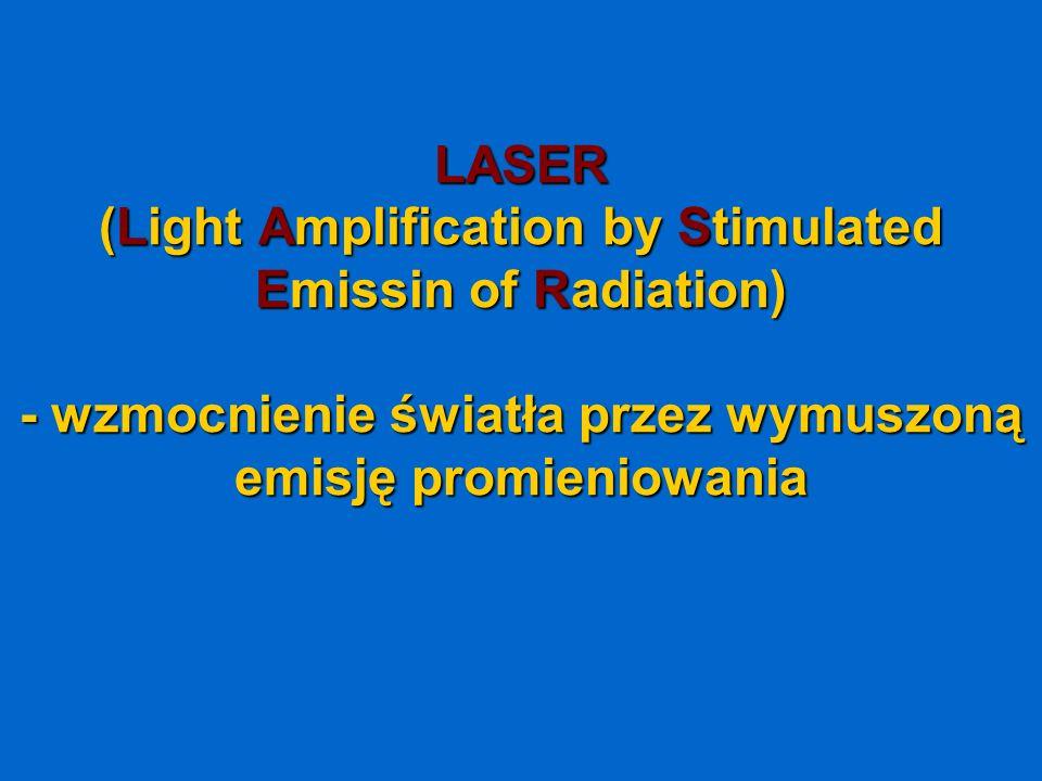 LASER (Light Amplification by Stimulated Emissin of Radiation) - wzmocnienie światła przez wymuszoną emisję promieniowania