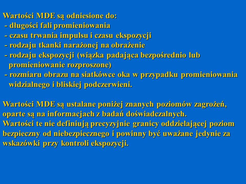 Wartości MDE są odniesione do: