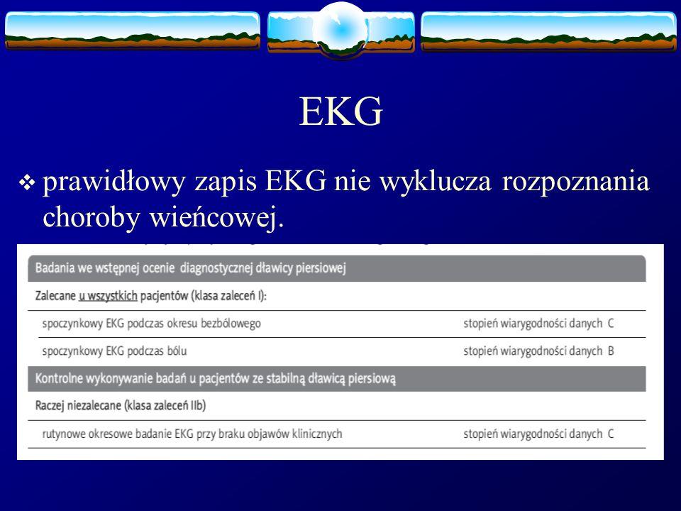 EKG prawidłowy zapis EKG nie wyklucza rozpoznania choroby wieńcowej.