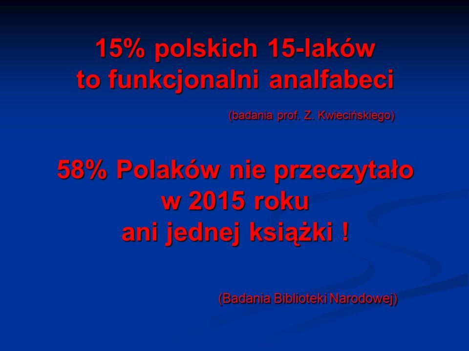 15% polskich 15-laków to funkcjonalni analfabeci (badania prof. Z