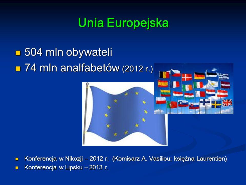 Unia Europejska 504 mln obywateli 74 mln analfabetów (2012 r.)