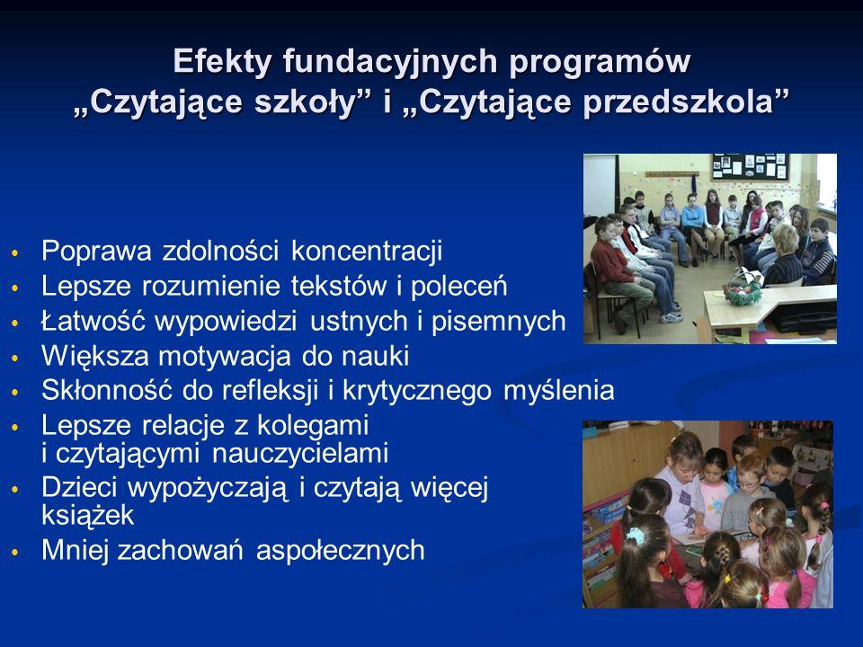 """Efekty fundacyjnych programów """"Czytające szkoły i """"Czytające przedszkola"""