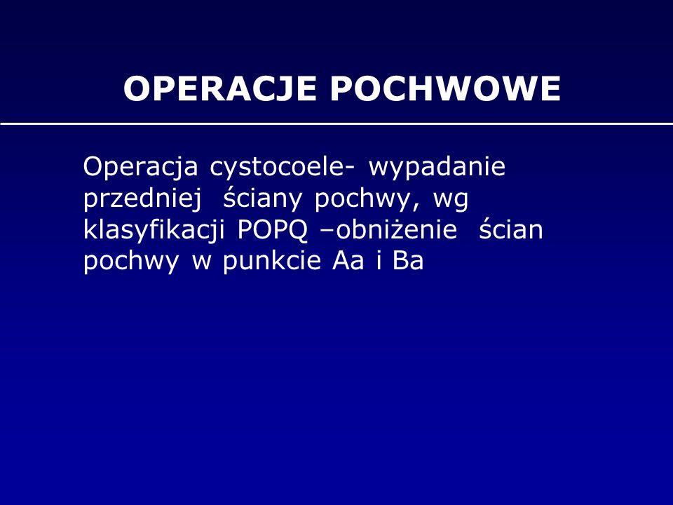 OPERACJE POCHWOWE Operacja cystocoele- wypadanie przedniej ściany pochwy, wg klasyfikacji POPQ –obniżenie ścian pochwy w punkcie Aa i Ba.
