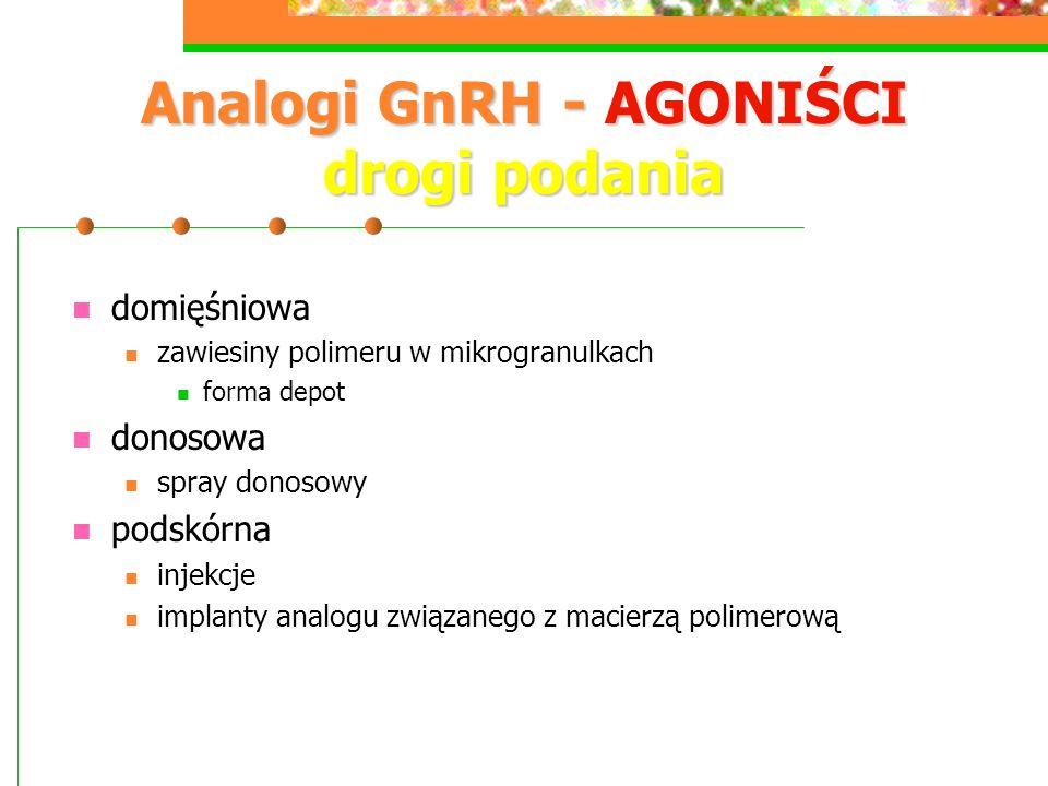 Analogi GnRH - AGONIŚCI drogi podania