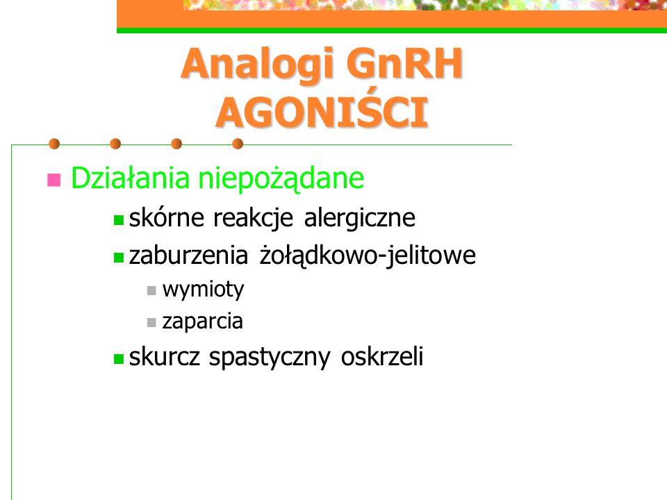 Analogi GnRH AGONIŚCI Działania niepożądane skórne reakcje alergiczne