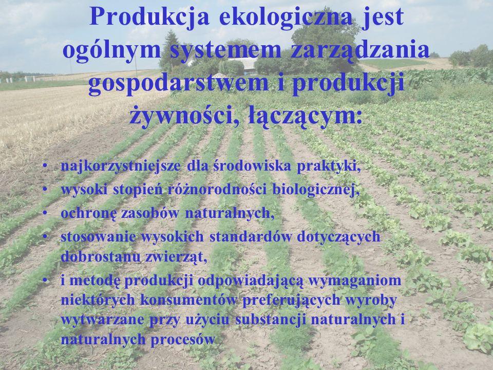 Produkcja ekologiczna jest ogólnym systemem zarządzania gospodarstwem i produkcji żywności, łączącym: