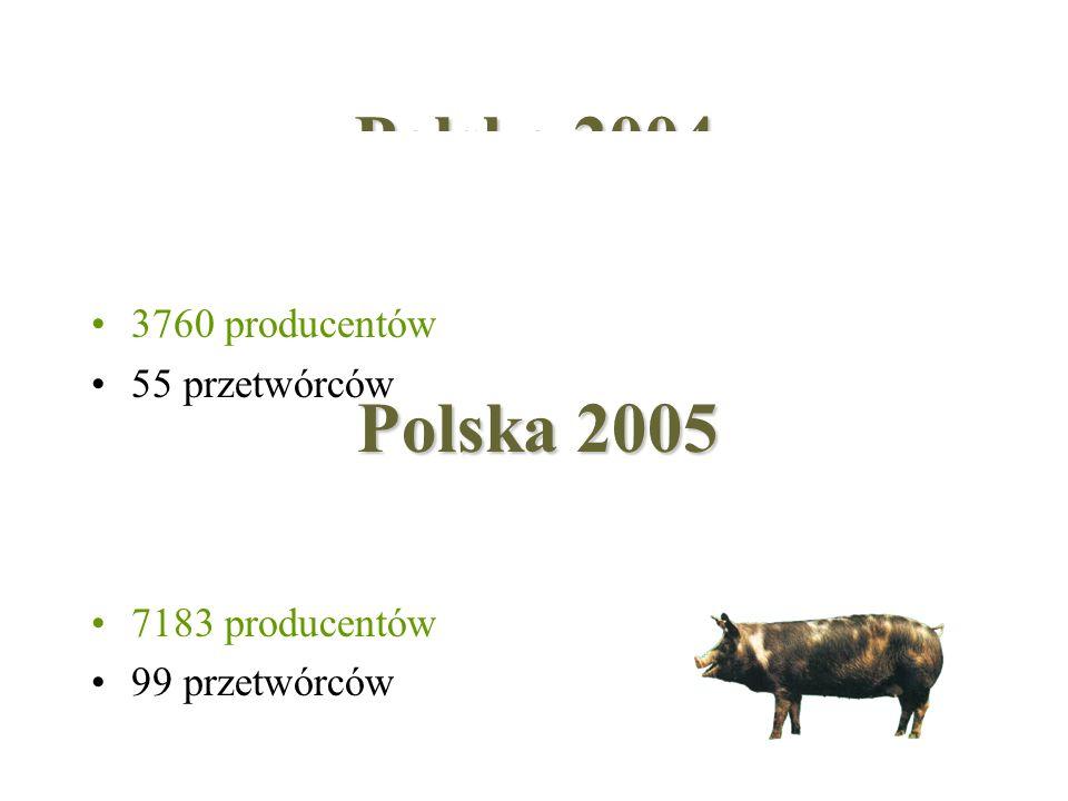 Polska 2004 Polska 2005 3760 producentów 55 przetwórców