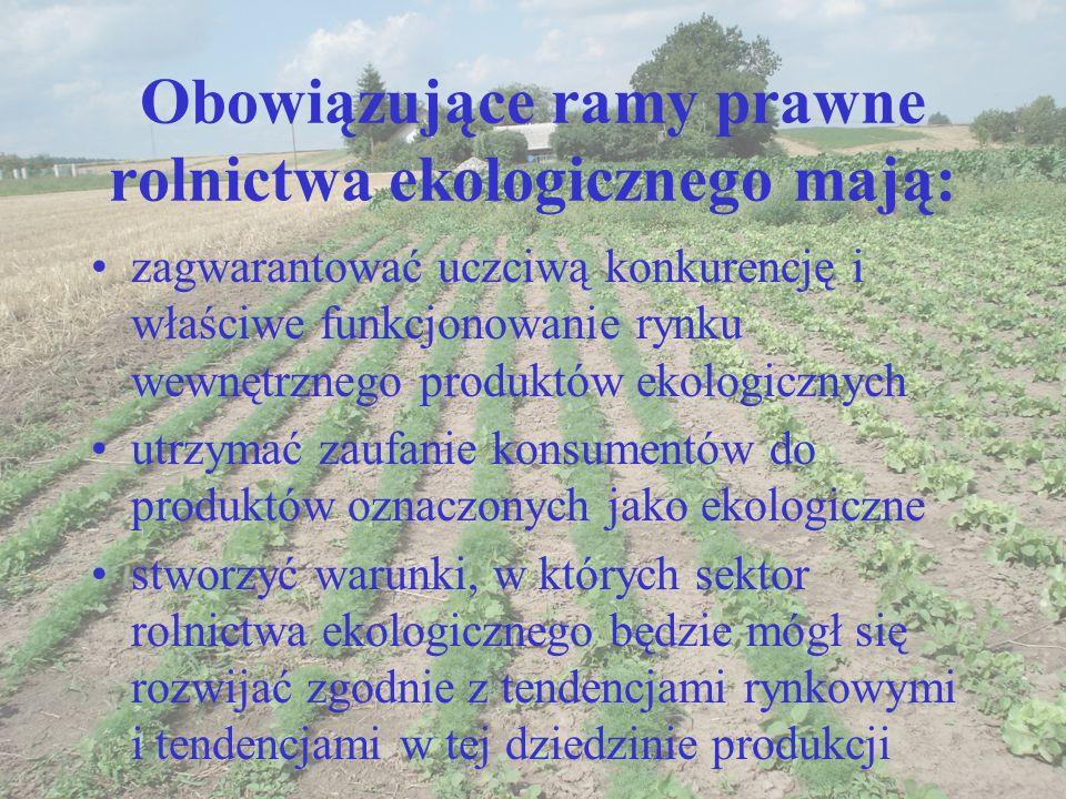 Obowiązujące ramy prawne rolnictwa ekologicznego mają: