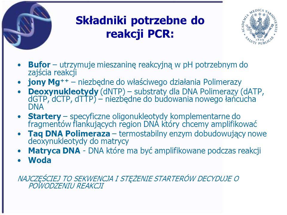 Składniki potrzebne do reakcji PCR: