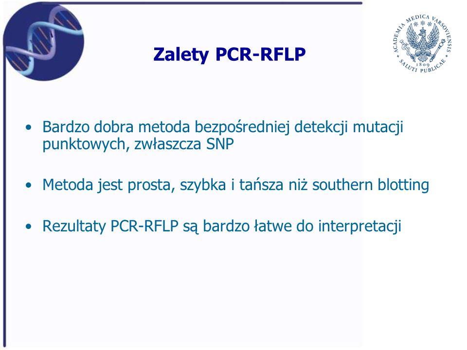Zalety PCR-RFLP Bardzo dobra metoda bezpośredniej detekcji mutacji punktowych, zwłaszcza SNP.