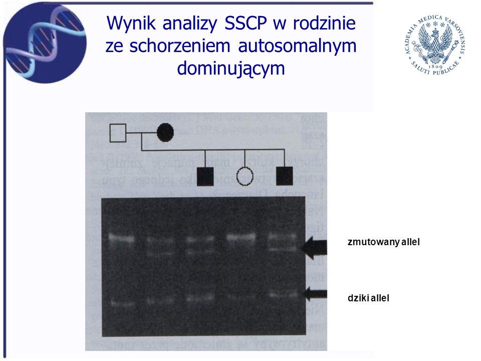 Wynik analizy SSCP w rodzinie ze schorzeniem autosomalnym dominującym