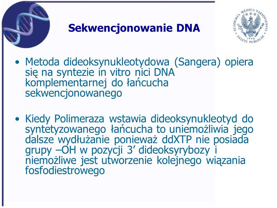Sekwencjonowanie DNA Metoda dideoksynukleotydowa (Sangera) opiera się na syntezie in vitro nici DNA komplementarnej do łańcucha sekwencjonowanego.