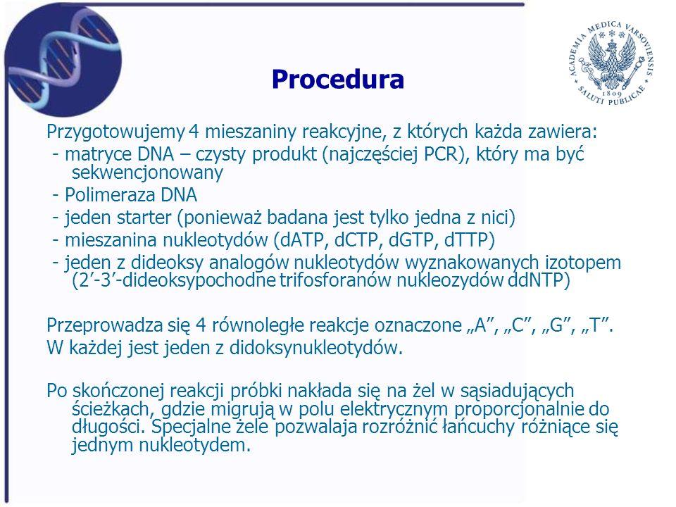 Procedura Przygotowujemy 4 mieszaniny reakcyjne, z których każda zawiera: