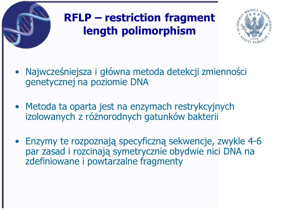 RFLP – restriction fragment length polimorphism