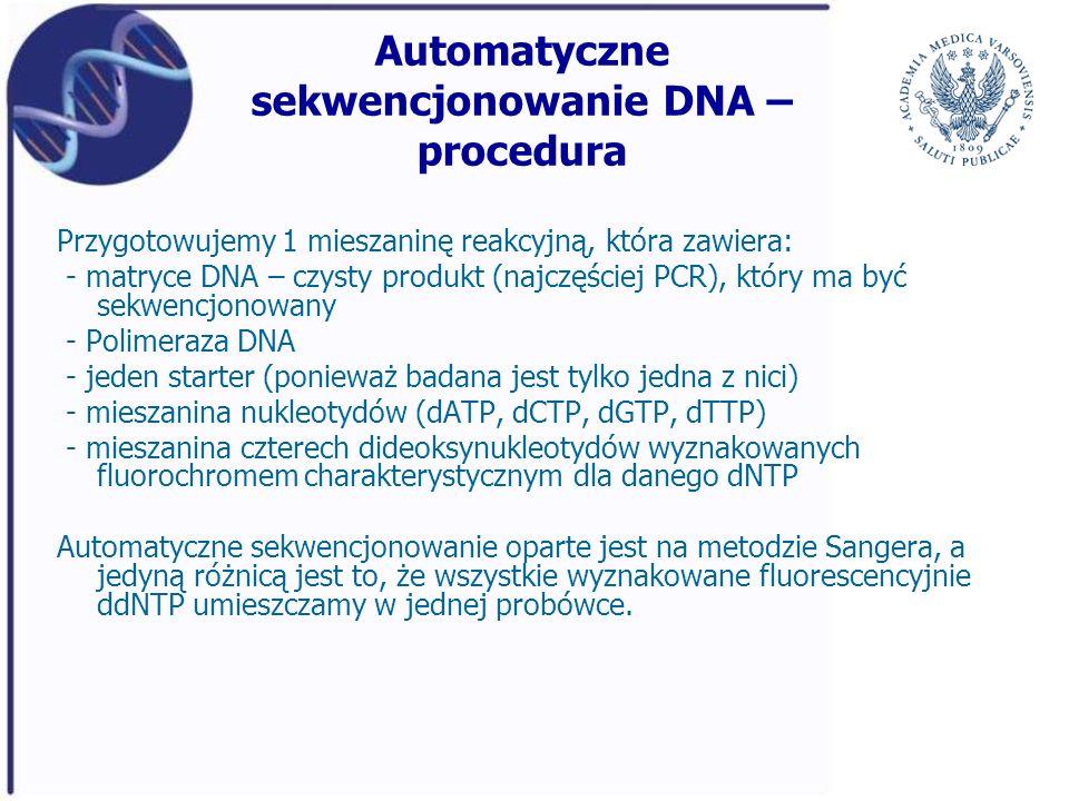 Automatyczne sekwencjonowanie DNA – procedura