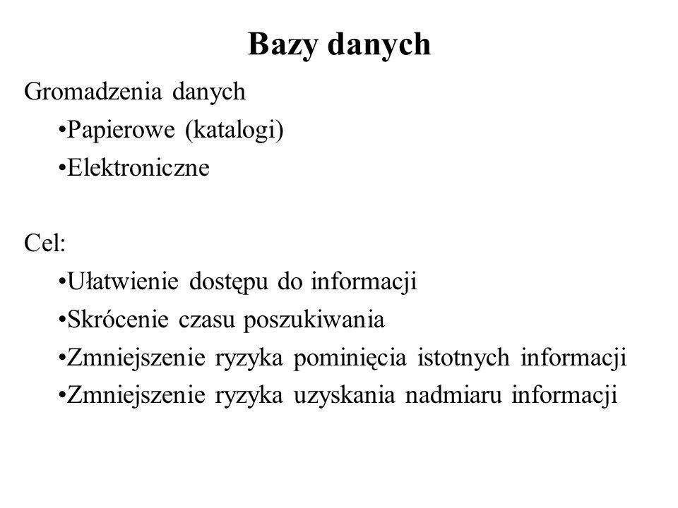 Bazy danych Gromadzenia danych Papierowe (katalogi) Elektroniczne Cel: