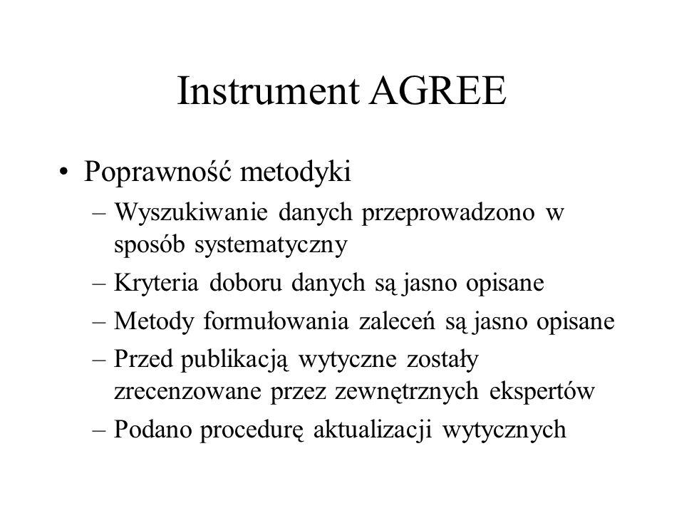 Instrument AGREE Poprawność metodyki