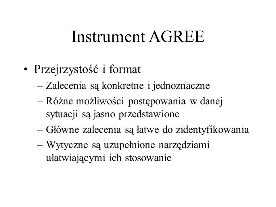 Instrument AGREE Przejrzystość i format