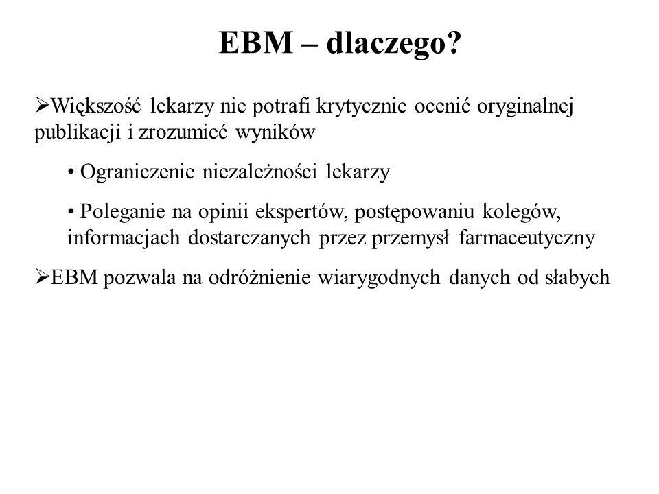 EBM – dlaczego Większość lekarzy nie potrafi krytycznie ocenić oryginalnej publikacji i zrozumieć wyników.