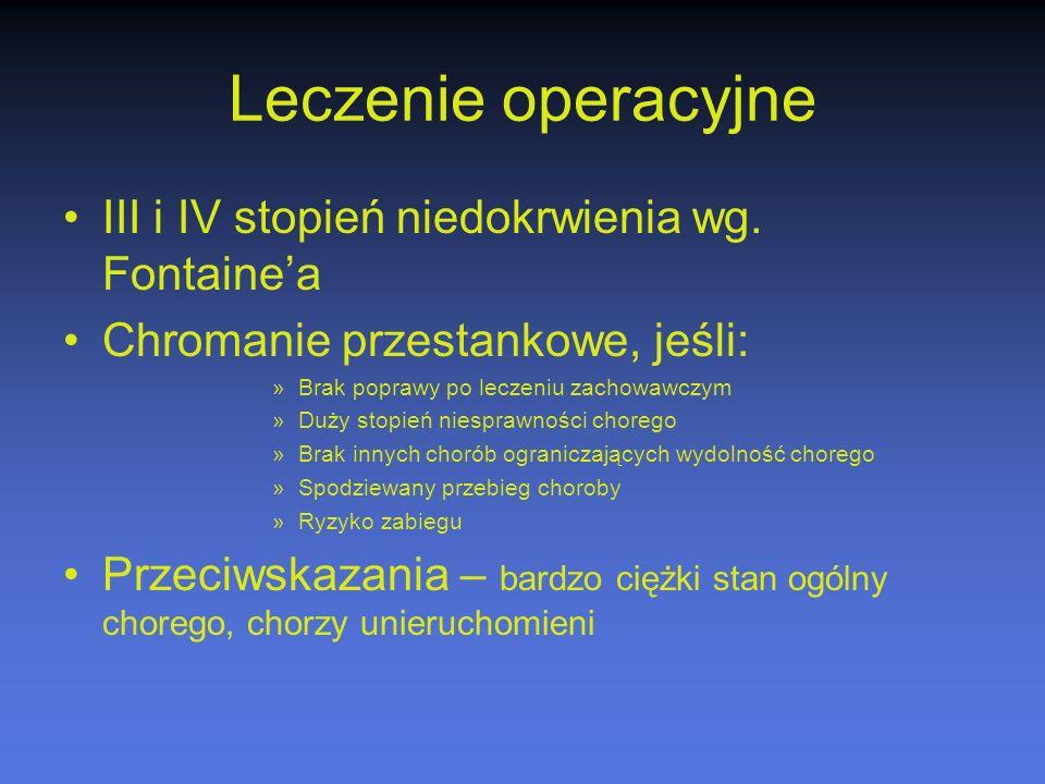 Leczenie operacyjne III i IV stopień niedokrwienia wg. Fontaine'a