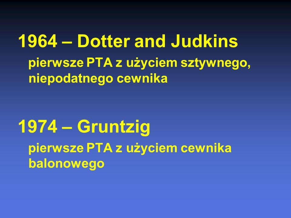1964 – Dotter and Judkins 1974 – Gruntzig