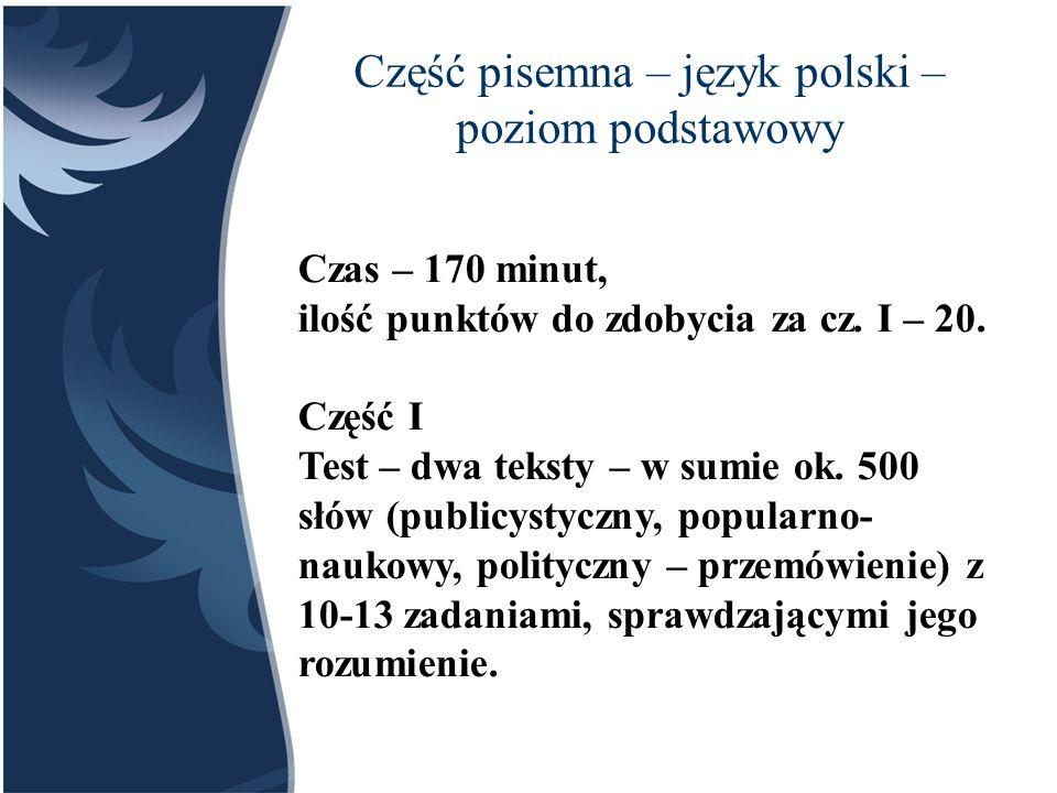 Część pisemna – język polski – poziom podstawowy
