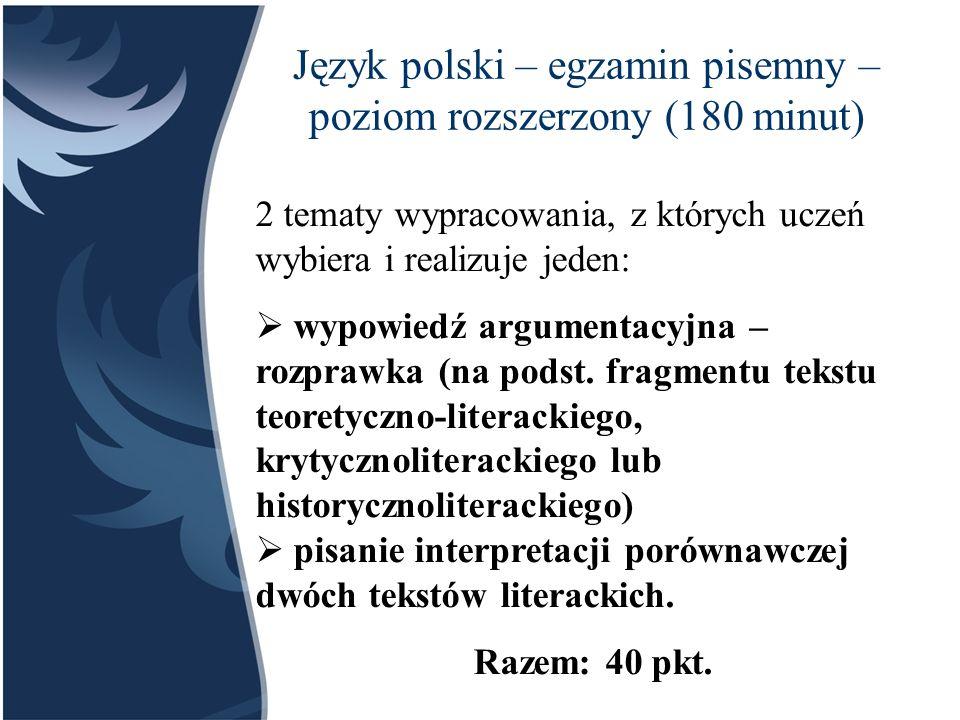 Język polski – egzamin pisemny – poziom rozszerzony (180 minut)