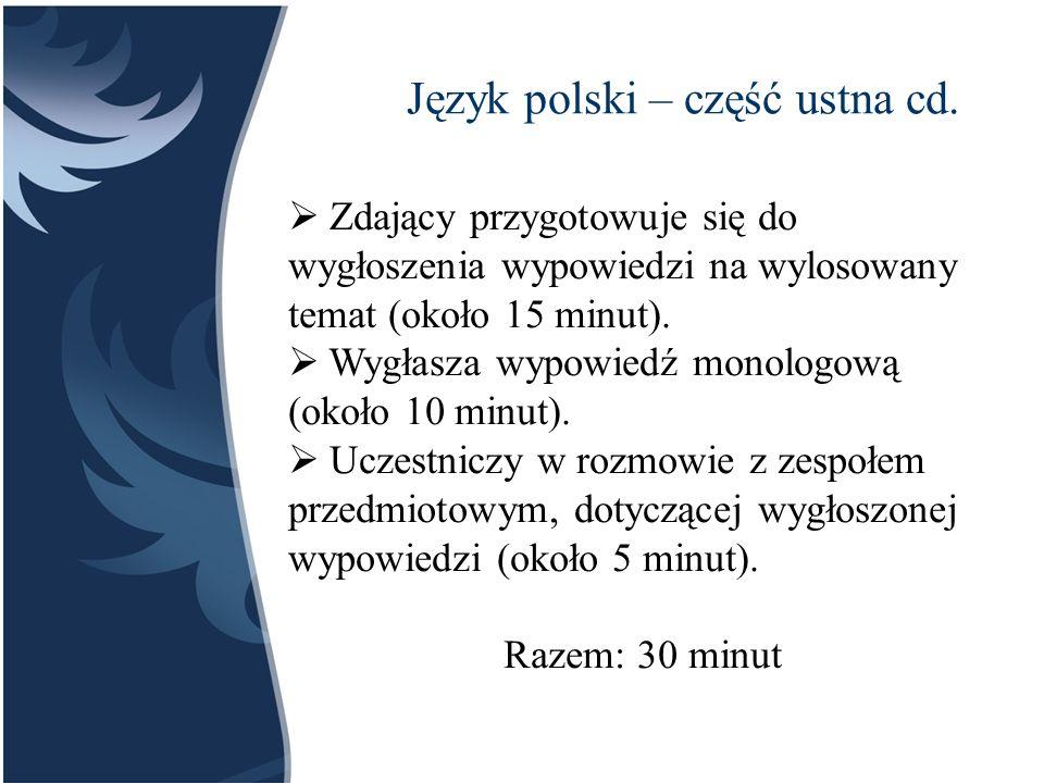 Język polski – część ustna cd.