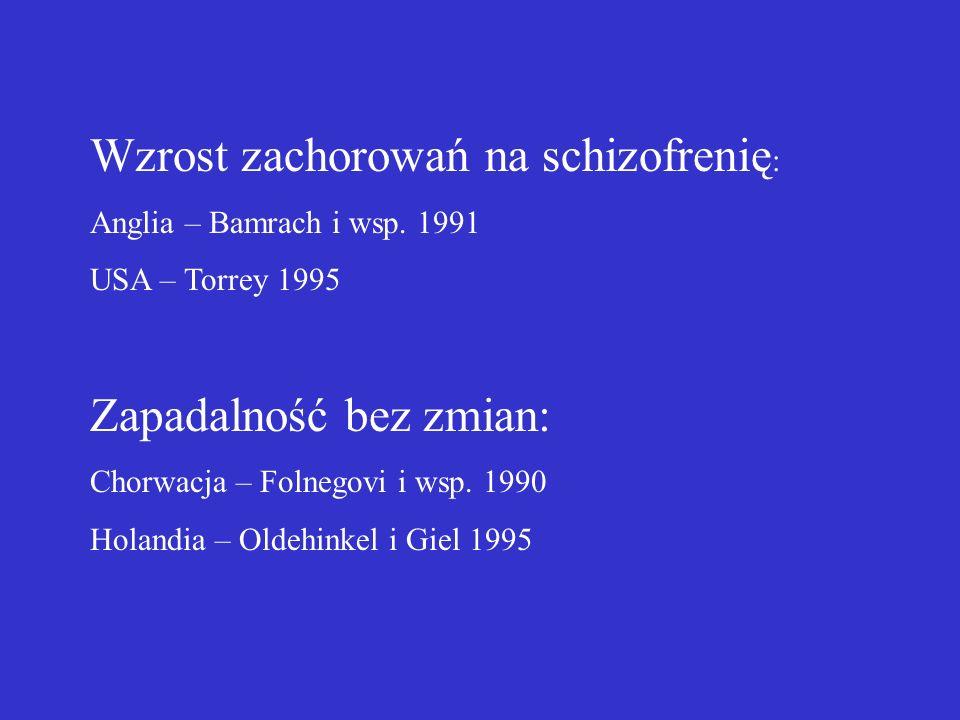 Wzrost zachorowań na schizofrenię: