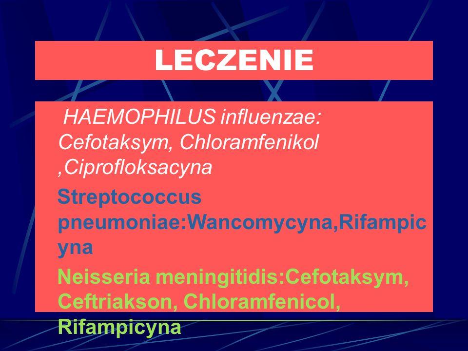 LECZENIE HAEMOPHILUS influenzae: Cefotaksym, Chloramfenikol ,Ciprofloksacyna. Streptococcus pneumoniae:Wancomycyna,Rifampicyna.