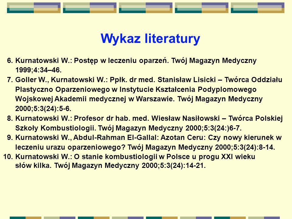 Wykaz literatury 6. Kurnatowski W.: Postęp w leczeniu oparzeń. Twój Magazyn Medyczny. 1999;4:34–46.