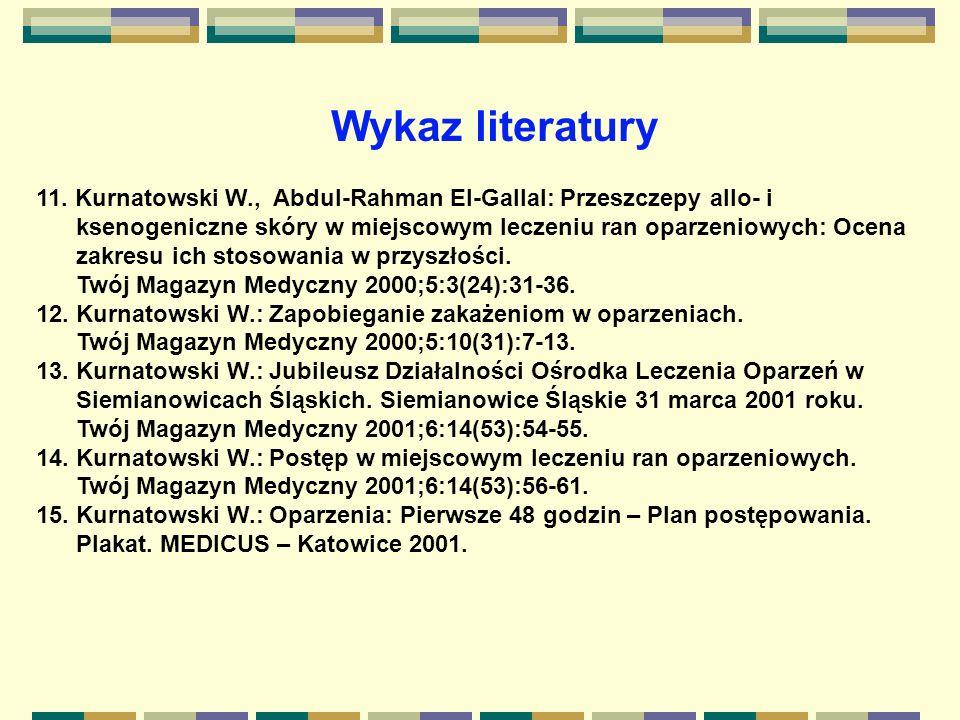 Wykaz literatury 11. Kurnatowski W., Abdul-Rahman El-Gallal: Przeszczepy allo- i.