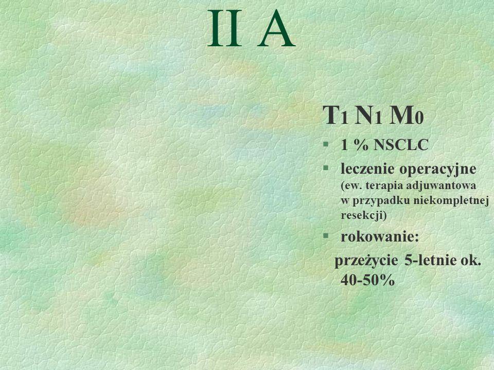 II A T1 N1 M0. 1 % NSCLC. leczenie operacyjne (ew. terapia adjuwantowa w przypadku niekompletnej resekcji)