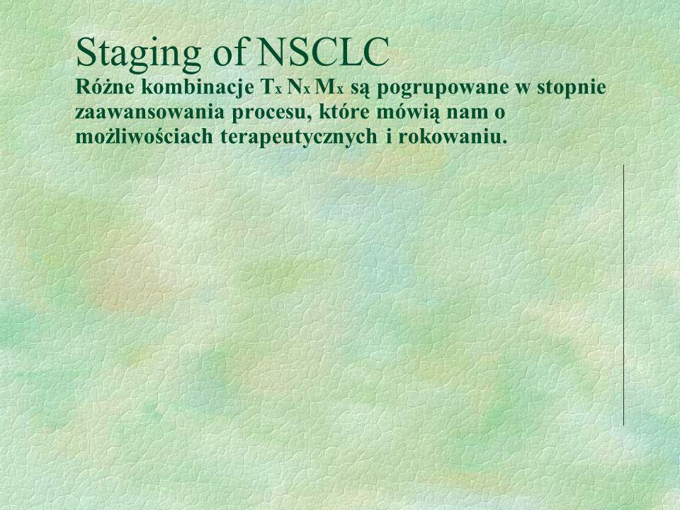 Staging of NSCLC Różne kombinacje Tx Nx Mx są pogrupowane w stopnie zaawansowania procesu, które mówią nam o możliwościach terapeutycznych i rokowaniu.