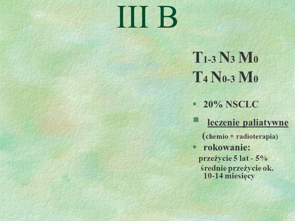 III B T1-3 N3 M0 T4 N0-3 M0 leczenie paliatywne 20% NSCLC