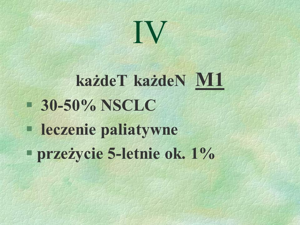 IV każdeT każdeN M1 30-50% NSCLC leczenie paliatywne