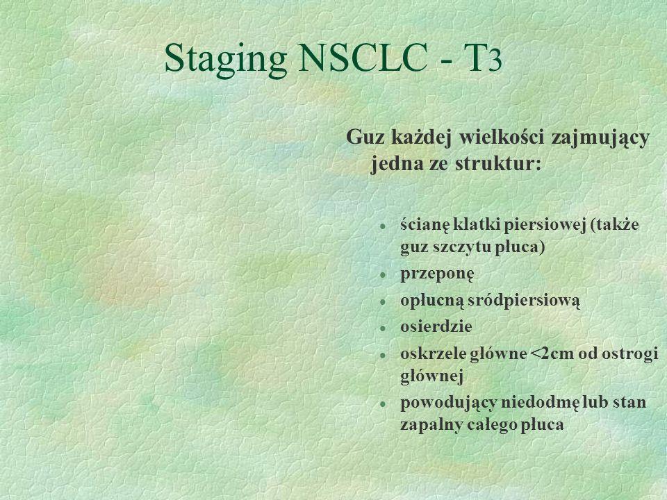 Staging NSCLC - T3 Guz każdej wielkości zajmujący jedna ze struktur: