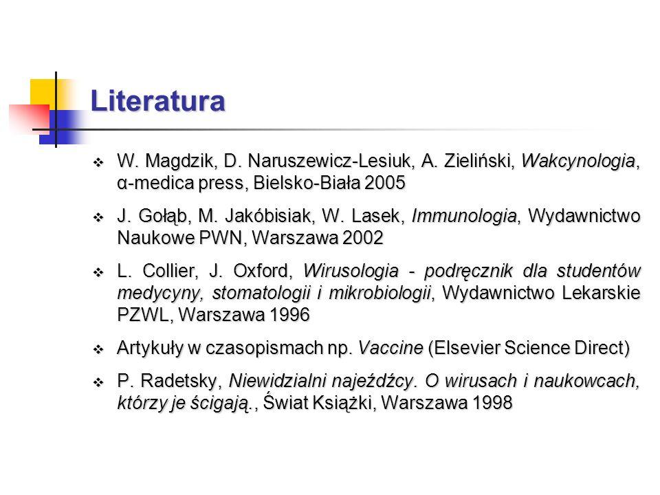 Literatura W. Magdzik, D. Naruszewicz-Lesiuk, A. Zieliński, Wakcynologia, α-medica press, Bielsko-Biała 2005.