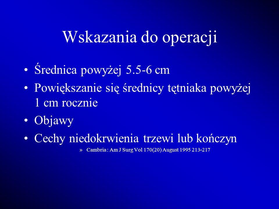 Wskazania do operacji Średnica powyżej 5.5-6 cm