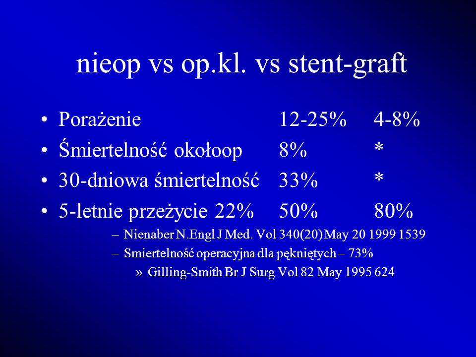 nieop vs op.kl. vs stent-graft