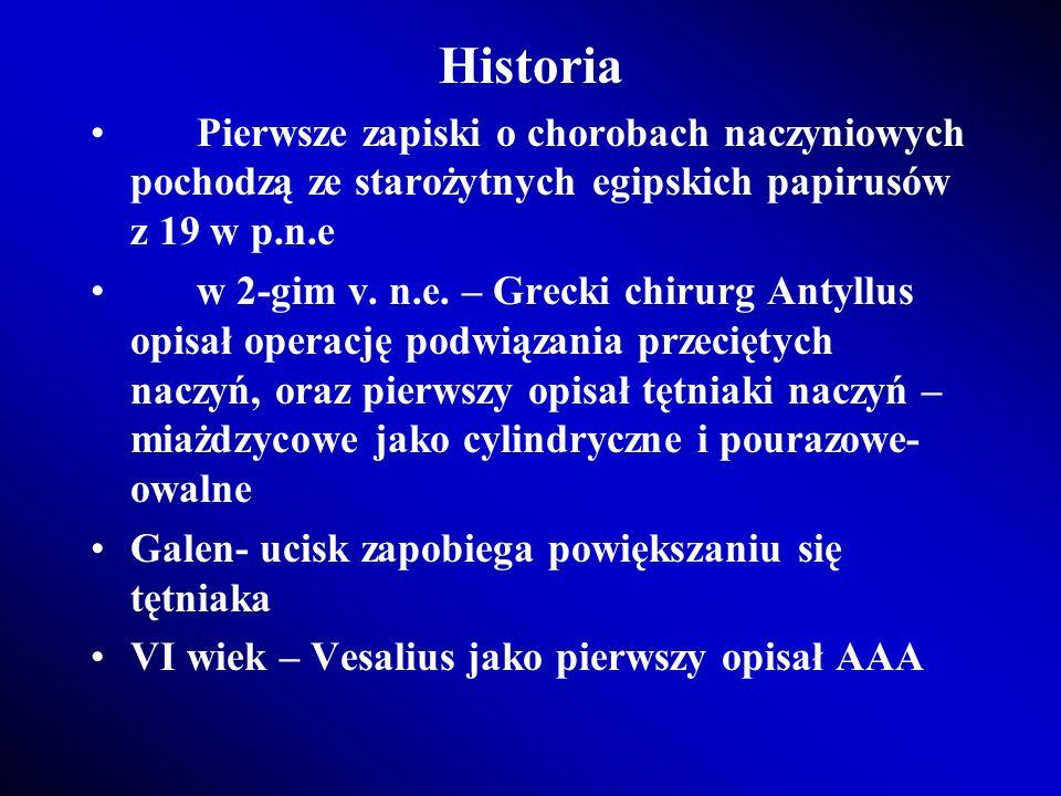 Historia Pierwsze zapiski o chorobach naczyniowych pochodzą ze starożytnych egipskich papirusów z 19 w p.n.e.
