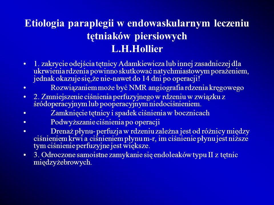Etiologia paraplegii w endowaskularnym leczeniu tętniaków piersiowych L.H.Hollier