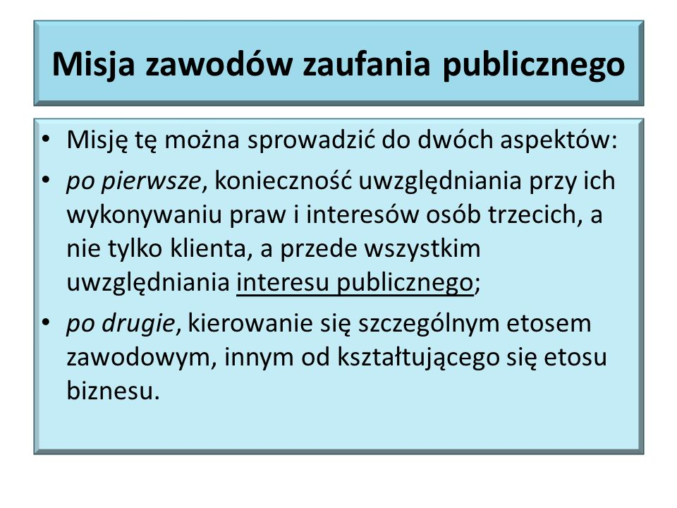 Misja zawodów zaufania publicznego