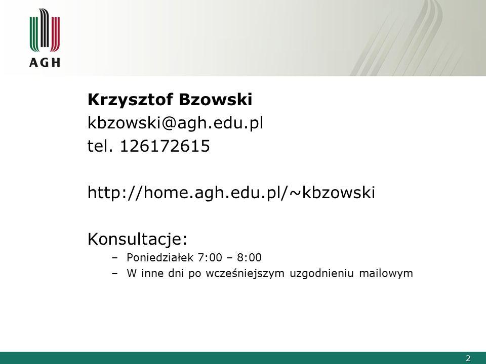 Krzysztof Bzowski kbzowski@agh.edu.pl tel. 126172615
