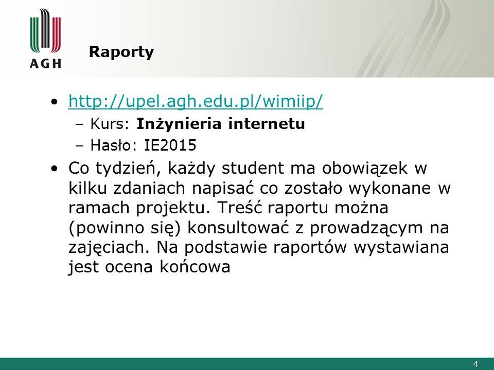 Raporty http://upel.agh.edu.pl/wimiip/ Kurs: Inżynieria internetu. Hasło: IE2015.