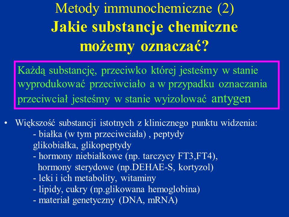 Metody immunochemiczne (2) Jakie substancje chemiczne możemy oznaczać