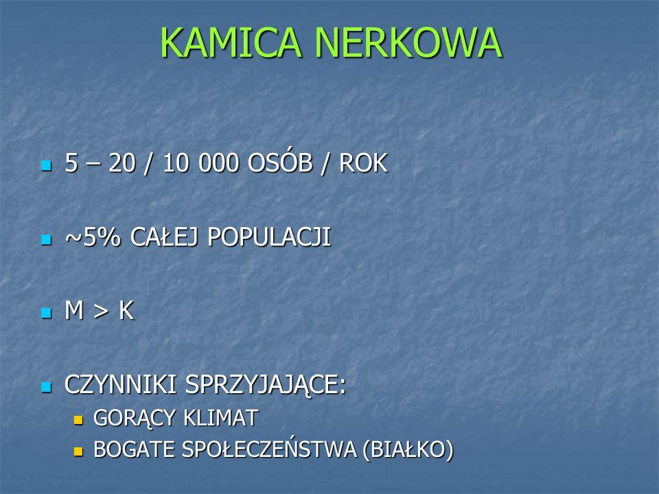 KAMICA NERKOWA 5 – 20 / 10 000 OSÓB / ROK ~5% CAŁEJ POPULACJI M > K