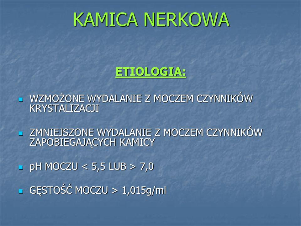 KAMICA NERKOWA ETIOLOGIA: